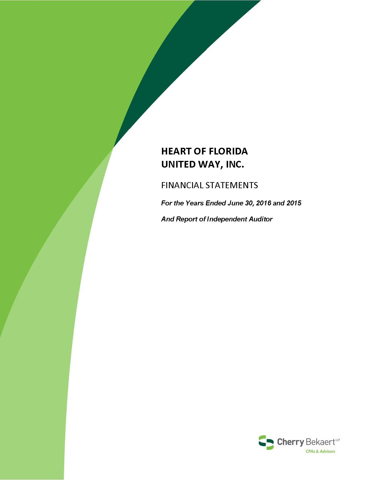 Our Financials - Heart of Florida United Way