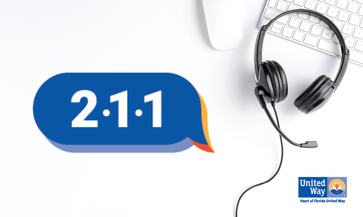 211 logo and a telephone headset