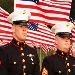 US Marines in their formal dress Uniform